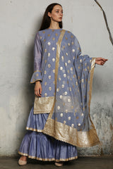 Blue Chanderi Tiered Sharara Only