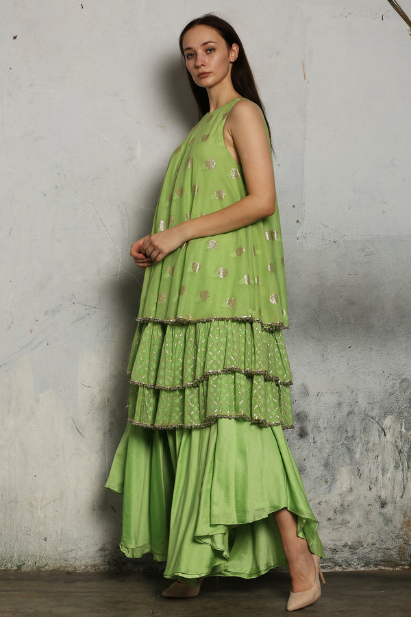 Green Layered Kurta