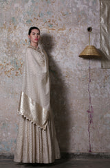 Ivory Chanderi Anarkali Set