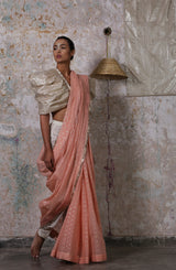 Peach Saree With Textured Border