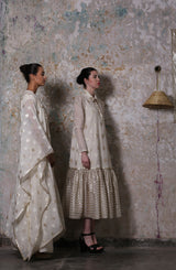 Khushnaz Turner in Ivory Asymmetric Kimono Jacket Set