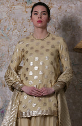 Ivory Kurta With Striped Dupatta