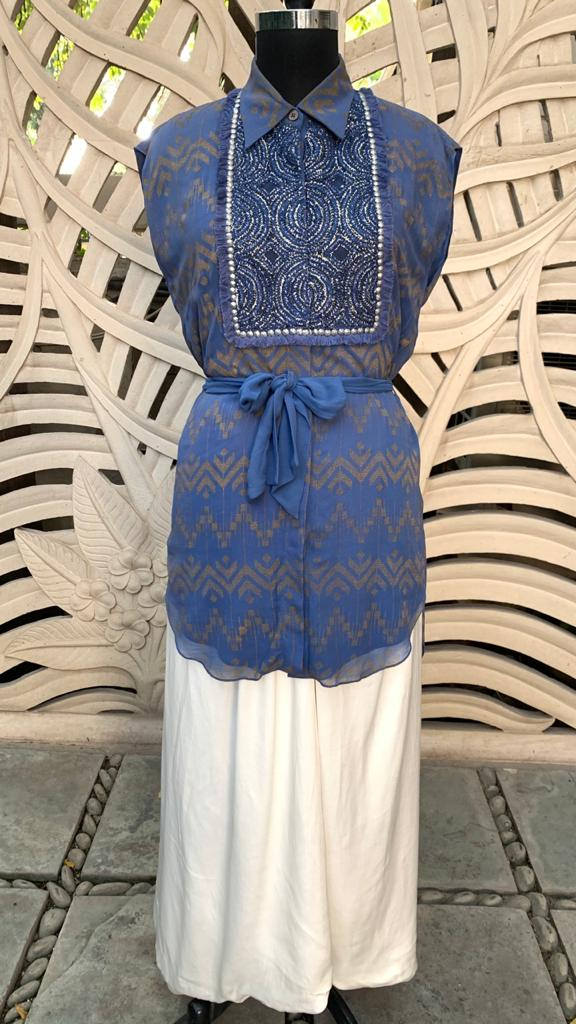 Cobalt Blue Embroidered Yoke Shirt With Pant