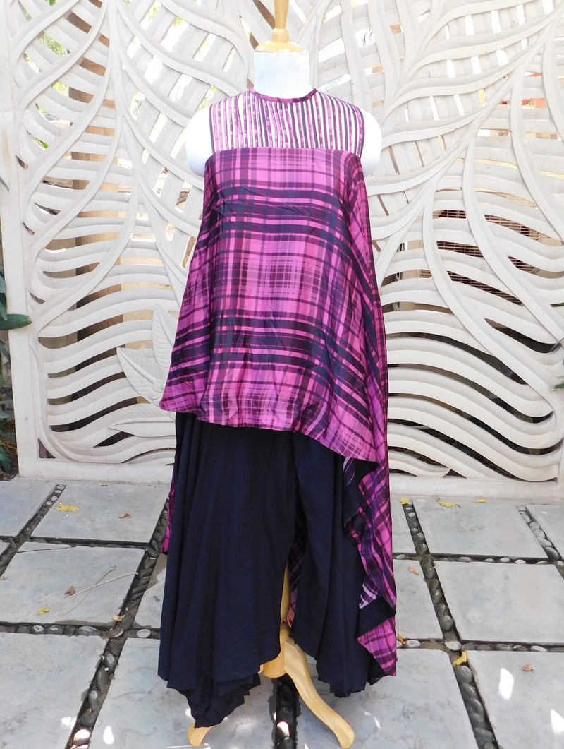 Purple Asymmetric Top With Pant