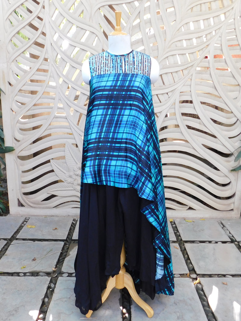 Blue Asymmetric Top With Pant
