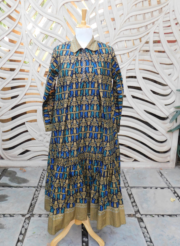 Blue Gold Poncho Dress