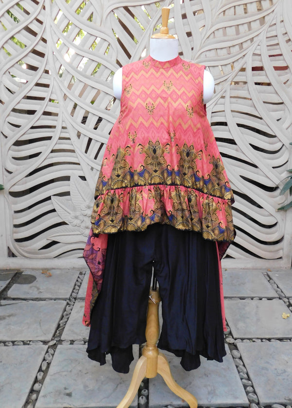 Pink Batik 2 Sided Cape With Pant