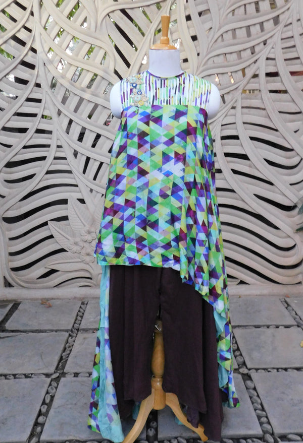 Green Asymmetric Top With Pant