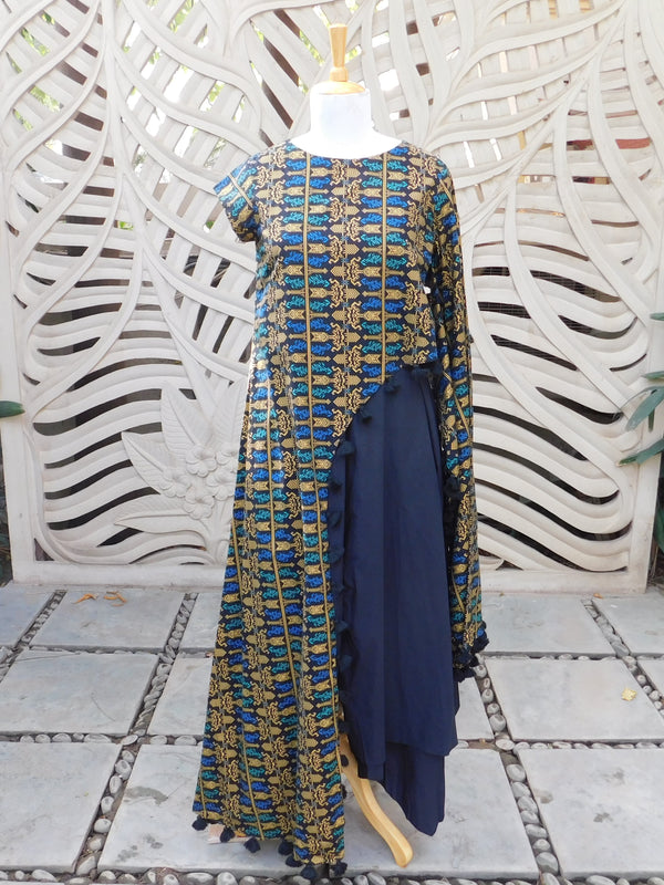 Blue Batik One Sided Top With Pant