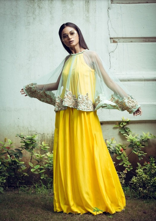 Yellow Jumpsuit With Embroidered Cape