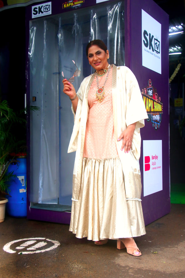 Archana Puran Singh in Peach Flared Maxi With Jacket