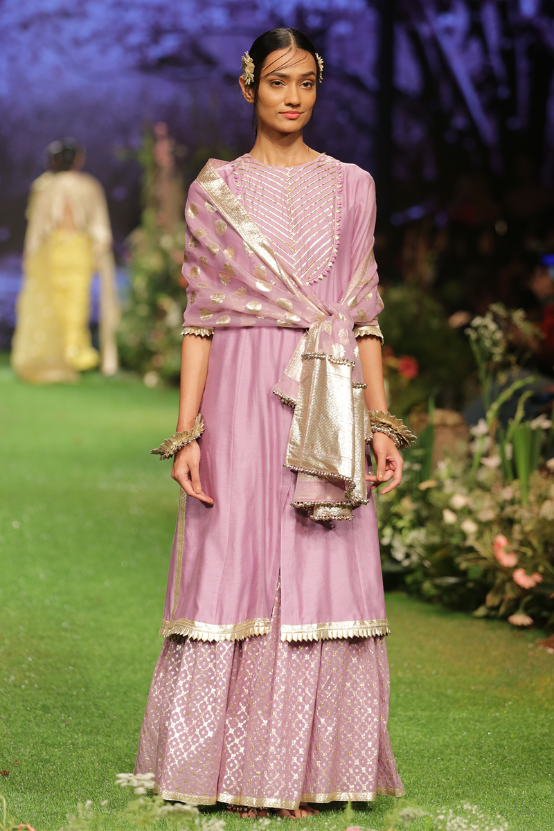 Mauve Chanderi Kurta Set