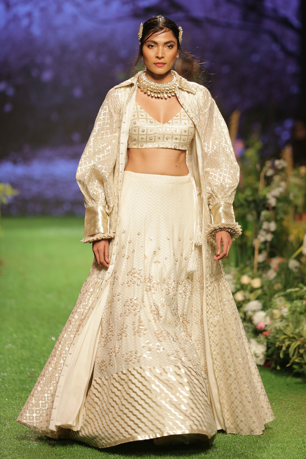 Ivory Embroidered Lehenga Choli Set