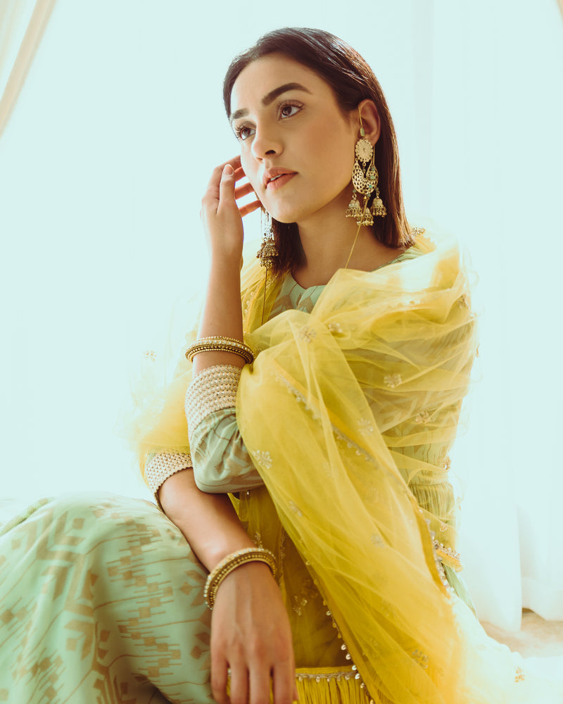 Sadaf In Teal Green Peplum Kurta With Yellow Sharara And Dupatta