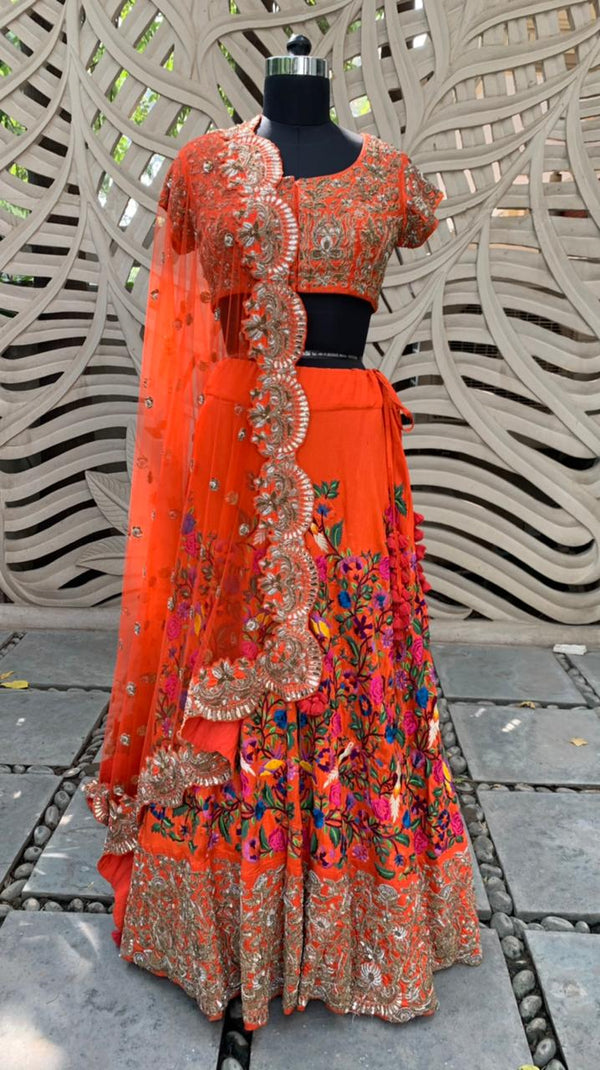 Coral Embroidered Lehenga Set Of 3
