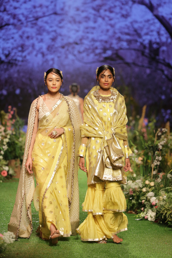 Yellow Embroidered Saree