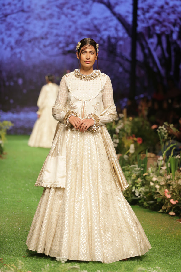 Ivory Embroidered Angrakha Lehenga Set