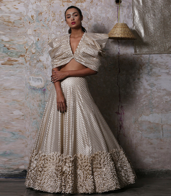 Gold Striped Lehenga And Top Set