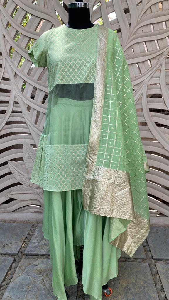 Green Tiered Kurta Set Of  3