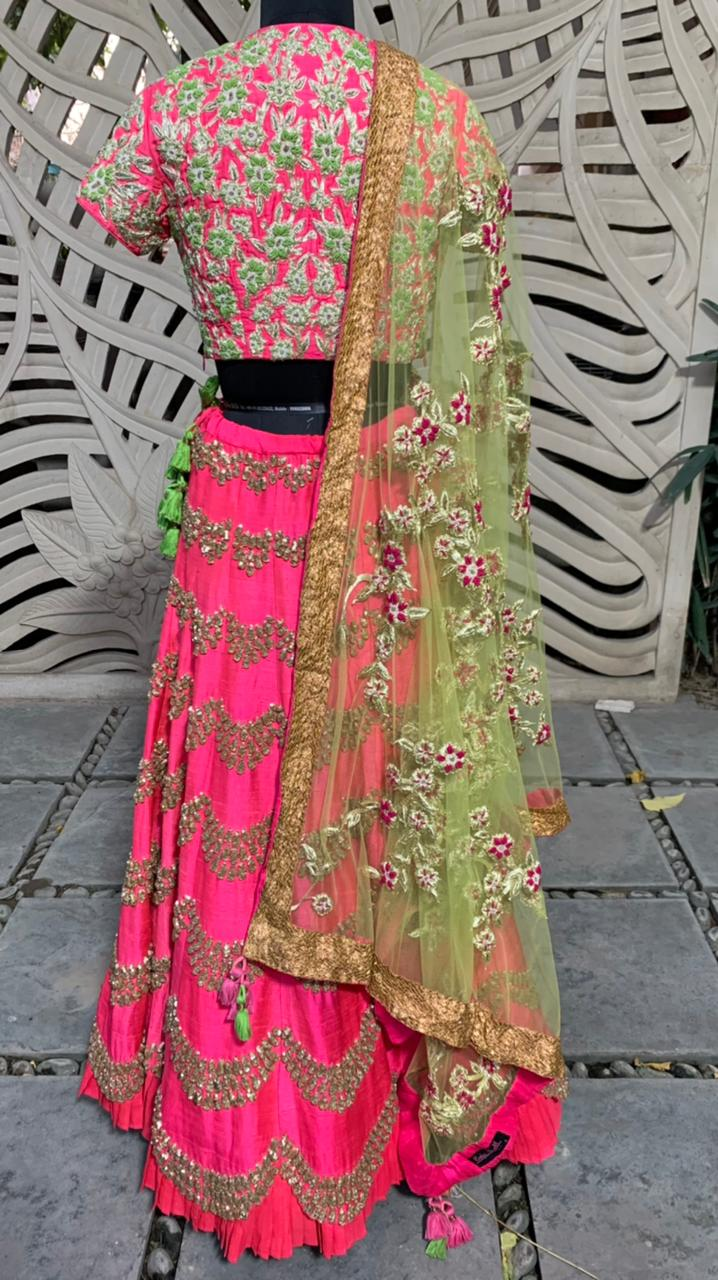 Pink Green Embroidered Scallop Lehenga Set Of 3