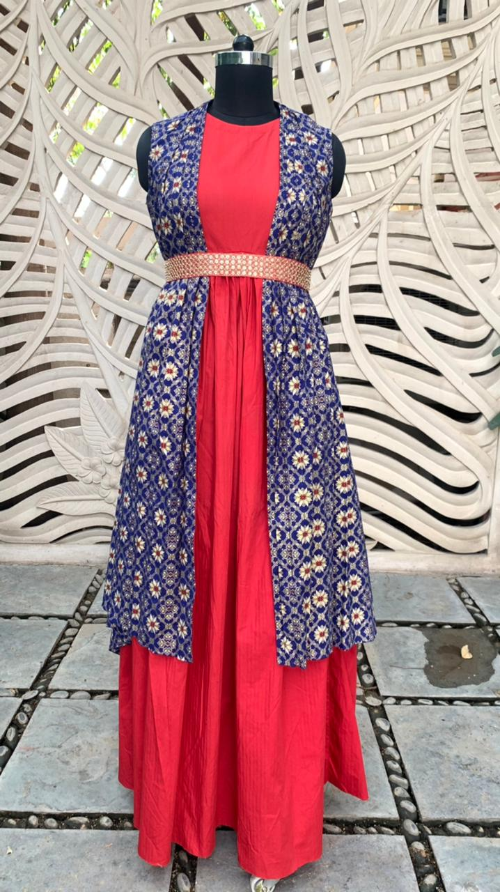 Red Maxi With Blue 2 Sided Cape  Set Of 3