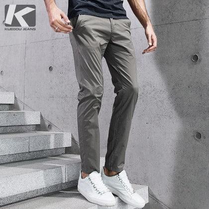 KUEGOU 2019 Summer Cotton Solid Black Gray Men Pants For Trousers Men Fashions Long Male Brand Clothing Casual Pants New 2397 - Go Buy Dubai