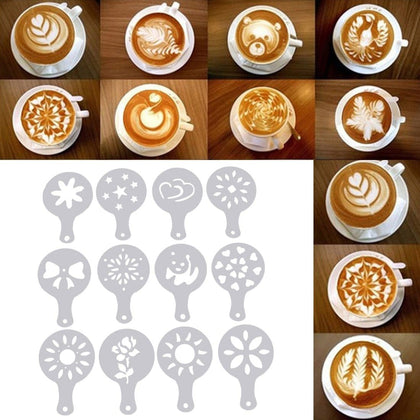 Mike Tea Cappuccino Barista Coffee Stencils Art Drawing Foam Spray Coffee Printing Mold  Cake Duster Templates Stencils set - Go Buy Dubai