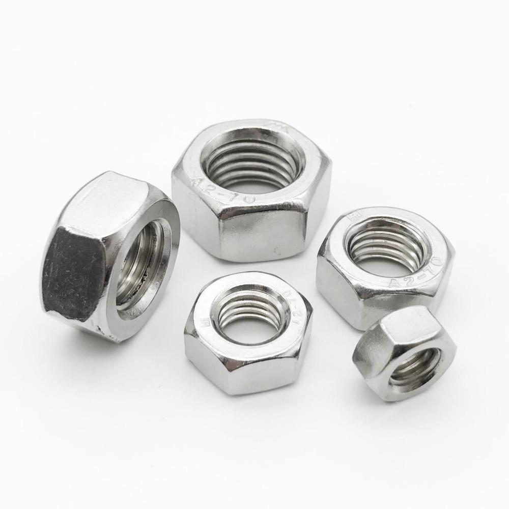 1/50/100pcs A2 304 Stainless Steel Hex Hexagon Nut for M1 M1.2 M1.4 M1.6 M2 M2.5 M3 M4 M5 M6 M8 M10 M12 M16 M20 M24 Screw Bolt