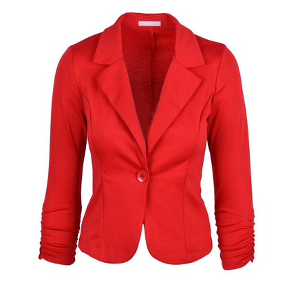 Womens Blazer Jacket Long Sleeve Candy Button Red - Go Buy Dubai