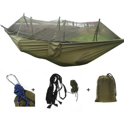 Portable Mosquito Net Camping Hammock Outdoor Garden Travel Swing Parachute Fabric Hang Bed Hammock 260*130cm Drop Shipping - Go Buy Dubai