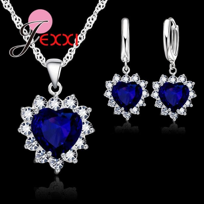 Silver Romantic Trendy Heart Cubic  Necklace Pendant Earrings Set For Women Female Jewelry