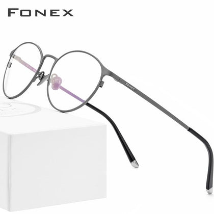 Pure Titanium Glasses Frame Men Vintage Round Eyewear Classic Optical Prescription Brand Designer Eyeglasses Frame Women 8501 - Go Buy Dubai