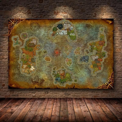 Unframed The Poster Decoration Painting of World of Warcraft 8.0 Map on HD Canvas Wall Pictures for Living Room  oil painting - Go Buy Dubai