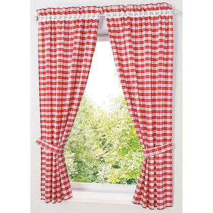 Pastoral Red/ Blue Plaid Short Curtains for Kitchen Window Treatments Kids Room Curtains for Bedroom Living Room Roman Blinds - Go Buy Dubai
