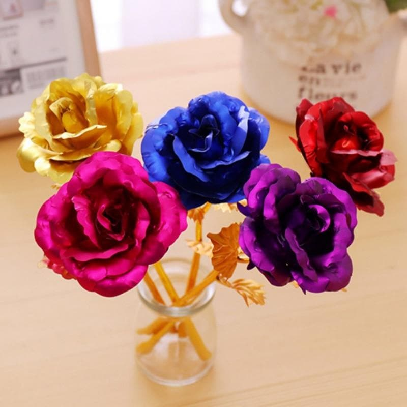 Drop Shipping Valentine's Day Gift With Gold Roses With Pedestal 24K Gold Plated Rose Flower Romantic for Lover Girl Friend Gift
