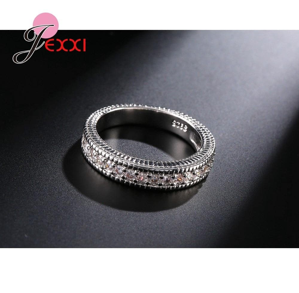 Cubic Wedding Ring 925 Sterling Silver Engagement Finger Ring Set For Women