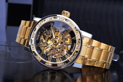 Winner Transparent Fashion Diamond Luminous Gear Movement Royal Design Men Top Brand Luxury Male Mechanical Skeleton Wrist Watch - Go Buy Dubai