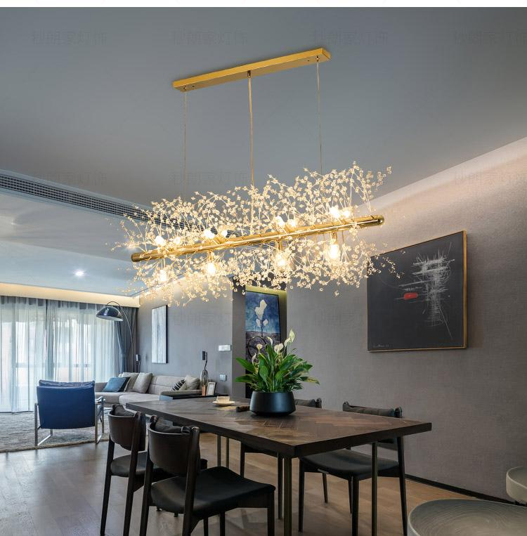 Snowflake Chandelier Nordic Style Lamp Creative Personality Crystal  Model Atmosphere Light Luxury Living Room Lighting