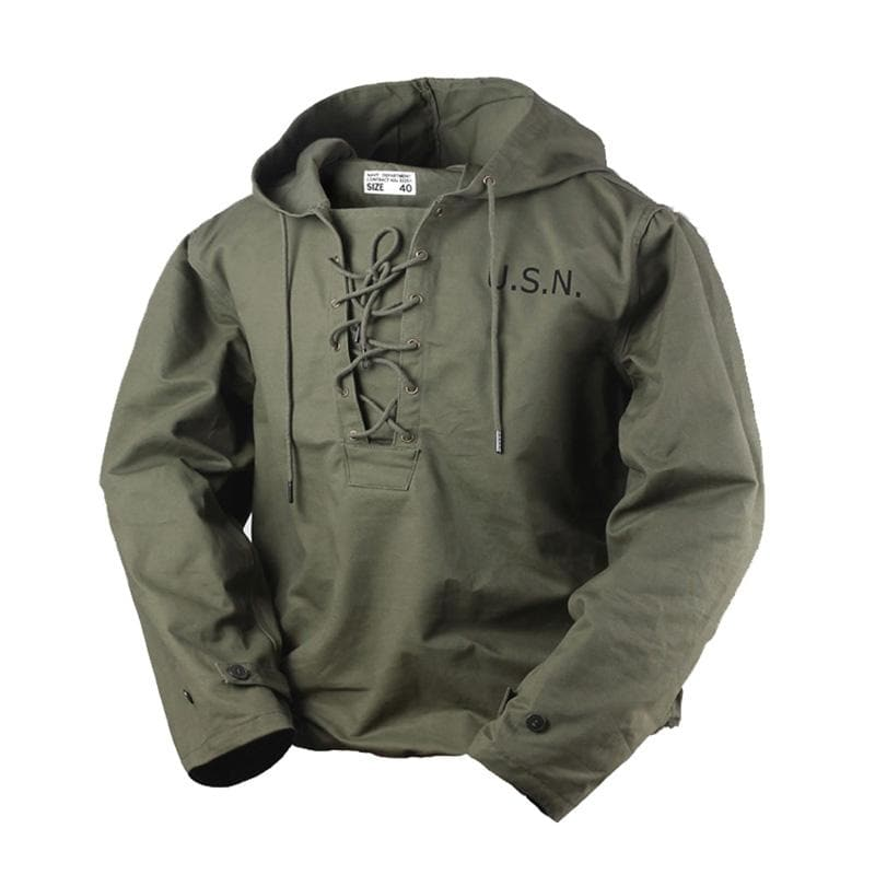 2020 Vintage Deck Army Green Lace Up WW2 Men's Military Hooded Jacket