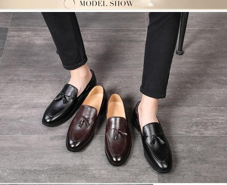 2020 New Fashion Black Bottom Leather Gentleman Business Handmade Shoes Tassel Loafers