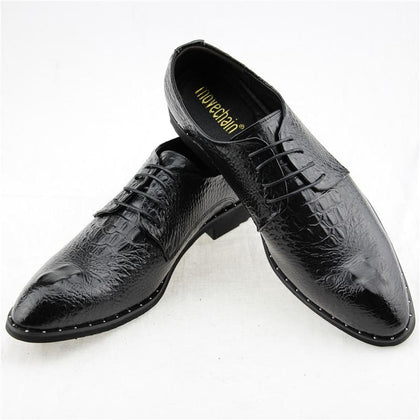 Men's Fashion Crocodile Grain Leather Pointed Toe Oxfords Lace-Up Business Shoes - Go Buy Dubai