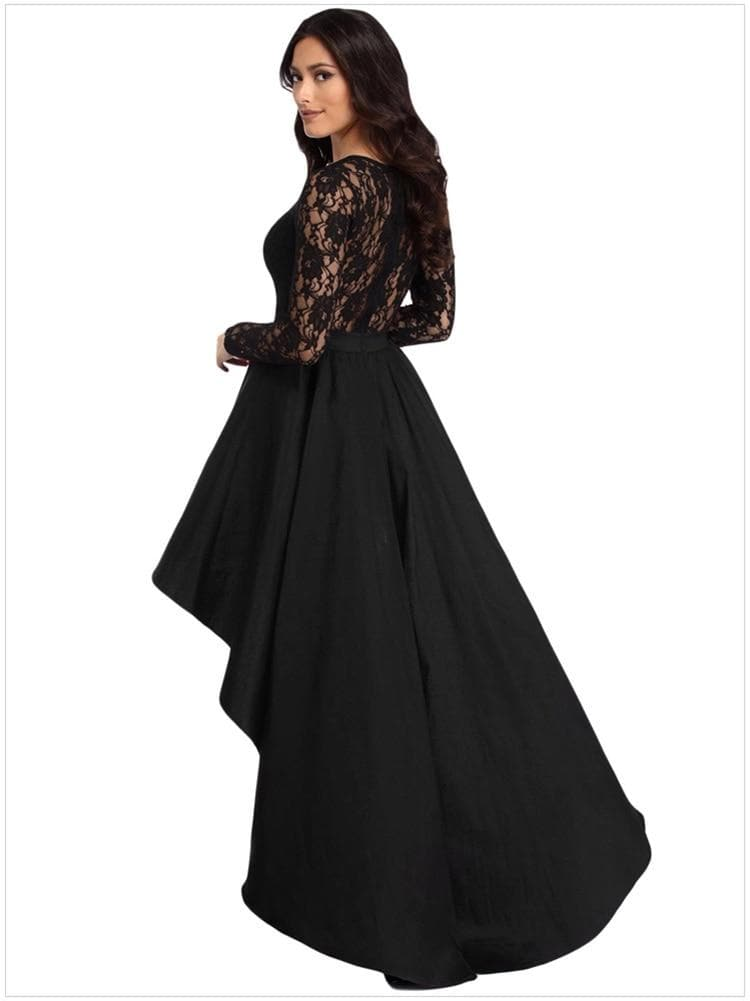 Long Sleeve Asymmetrical Swing Dress Ladies Evening Party Dress