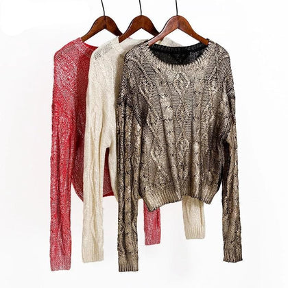WOTWOY 2019 Autumn Winter Shiny Gold Stamp Criss-cross Knitted Women Sweaters Casual Soft O-Neck Long Sleeve Pullover Women - Go Buy Dubai