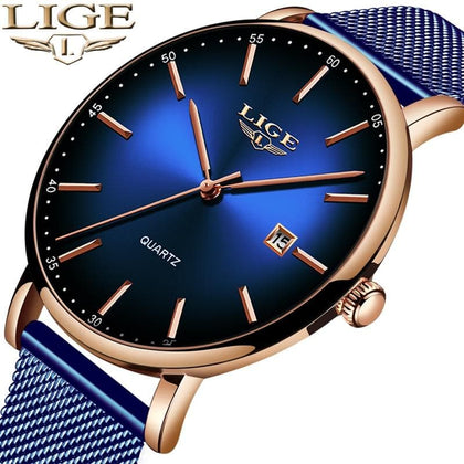 Fashion Mens Watches Top Brand Luxury Blue Waterproof Watches Ultra Thin Date Simple Casual Quartz Watch Men Sports Clock - Go Buy Dubai