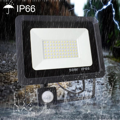 Led Floodlight 10W 20W 30W 50W Outdoor Spotlight With Motion Sensor AC 220V 240V Waterproof IP66 Garage Lamp for Wall light - Go Buy Dubai