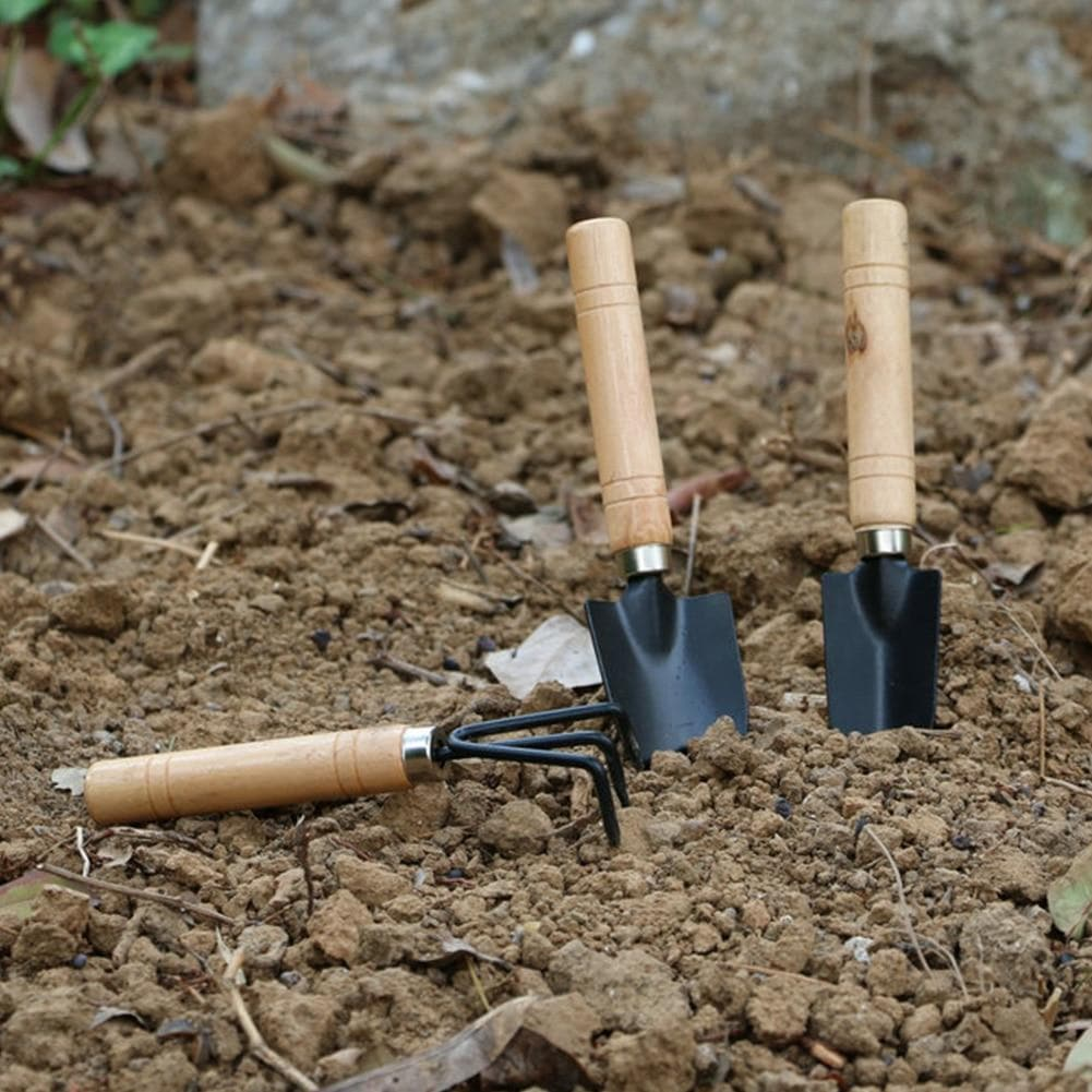 3pcs Outdoor Rake Transplanter Spade Shovel Plant Portable With Handle Garden Tools Set Kids Seedling Cultivating Loosening Soil