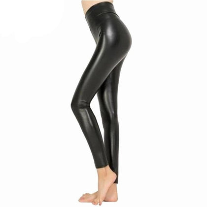 Legging Free dropshipping Women Hot Sexy Black Wet Look Faux Leather Leggings Slim Shiny - Go Buy Dubai