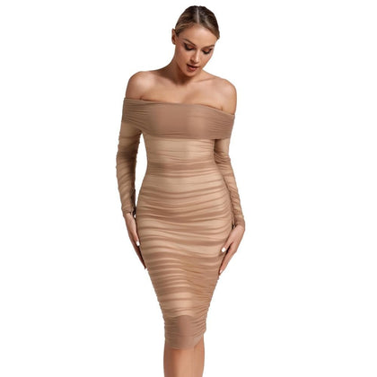 New Arrival 2020 Women's Chestnut Tulle Off Shoulder Ruched Party Wear - Go Buy Dubai