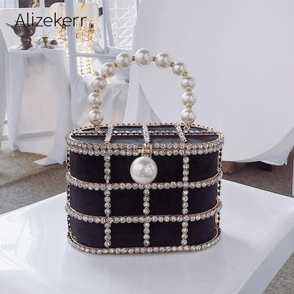 Diamonds Basket Evening Clutch Bags Women 2019 Luxury Hollow Out Preal Beaded Metallic Cage Handbags Ladies Wedding Party Purse - Go Buy Dubai