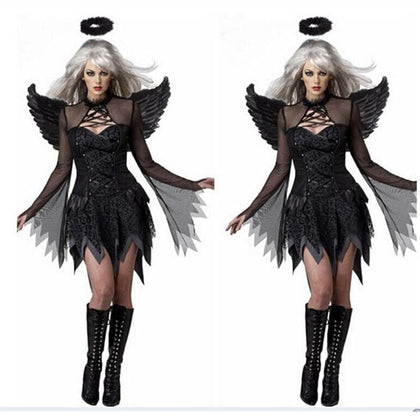 Halloween Costumes For Women Fantasy Cosplay Party Fancy Dress Adult Black Fallen Angel Costume With Angel Wings - Go Buy Dubai